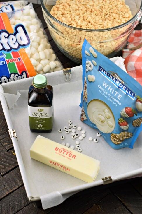 Ingredients needed for homemade rice krispie treats