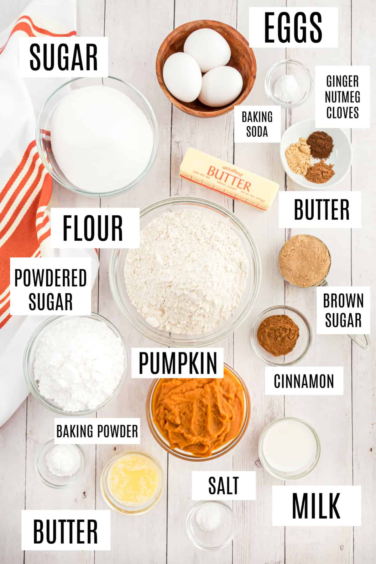 Ingredients needed to make a pumpkin coffee cake with streusel.