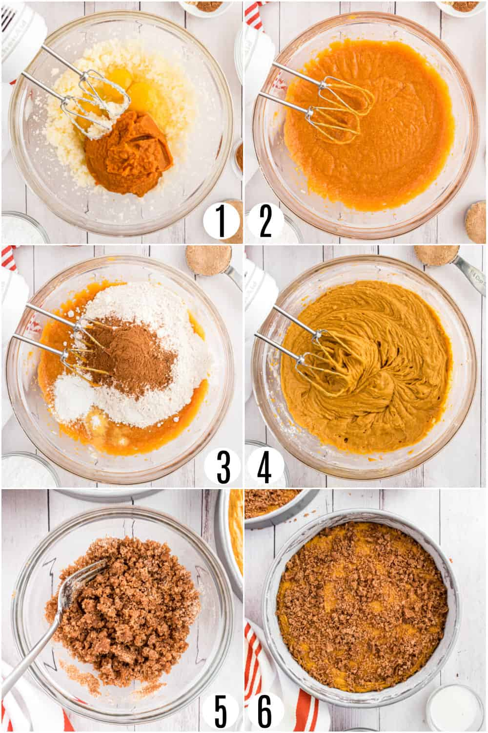 Step by step photos showing how to make pumpkin coffee cakes.
