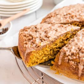 Moist, delicious Pumpkin Coffee Cake piled high with a sweet Cinnamon Steusel and cinnamon glaze. Easy recipe with freezer friendly options too!