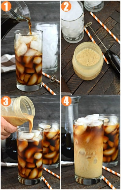 Step by step photo collage on how to make pumpkin cream cold brew.