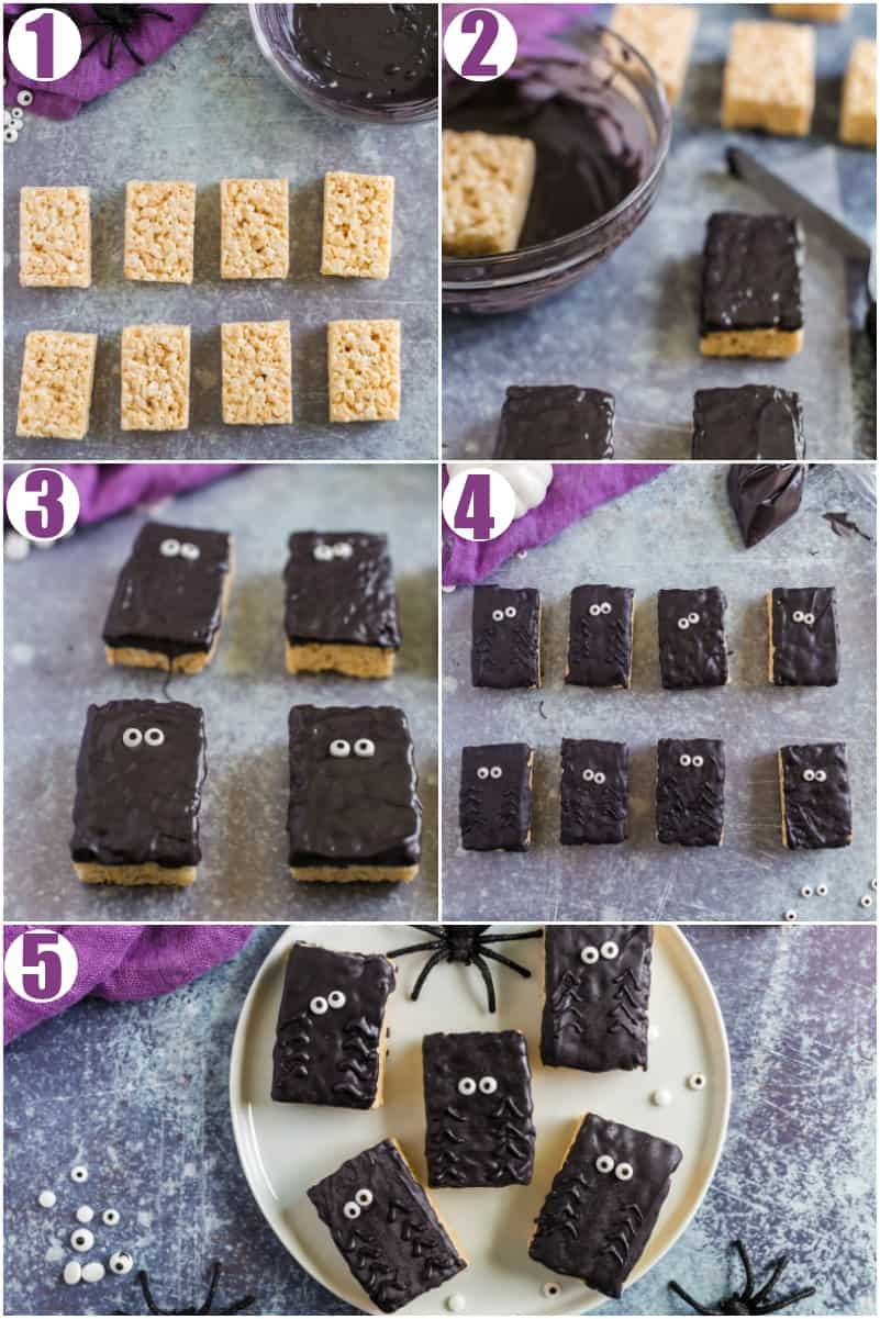 Step by Step how to make spider rice krispie treats
