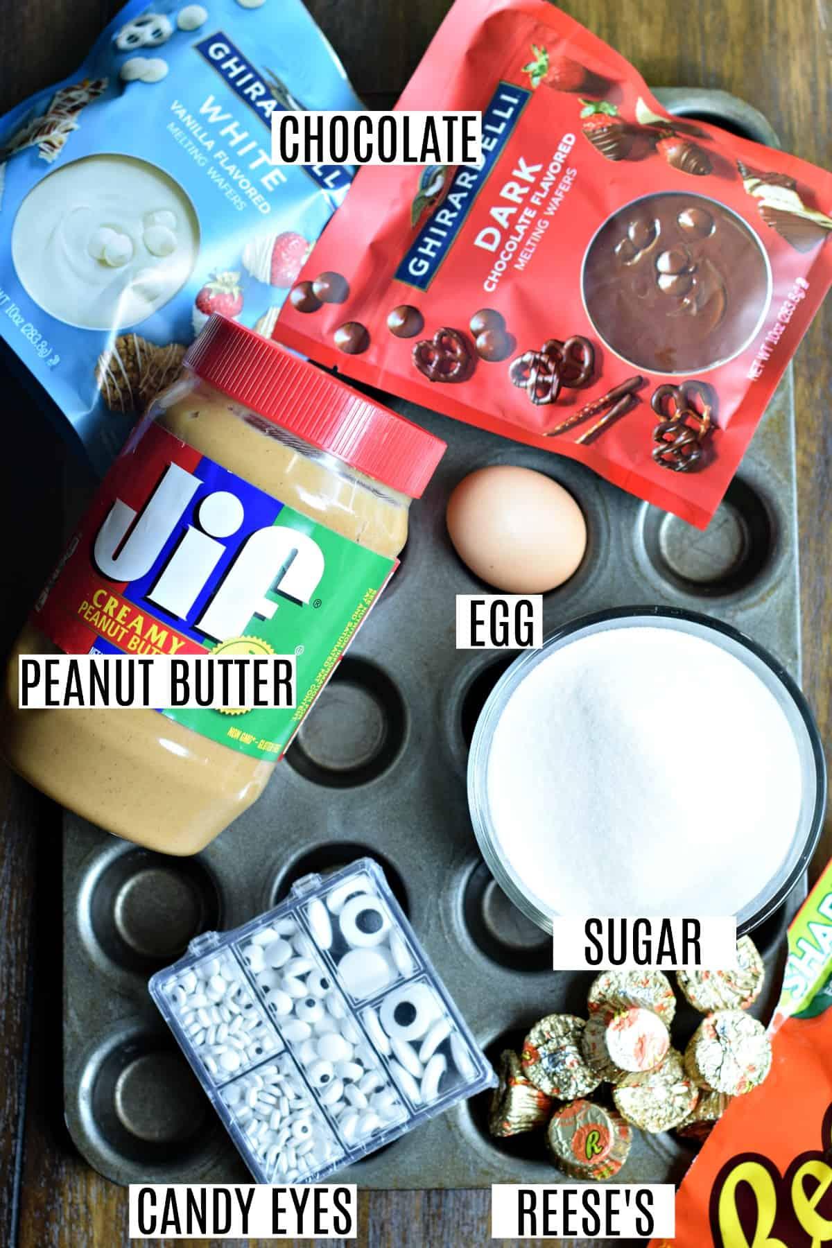 Ingredients needed to make 3 ingredient peanut butter cookies for Halloween.