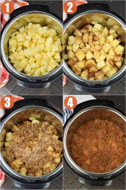 Step by step photos showing how to make apple crisp in the Instant Pot.