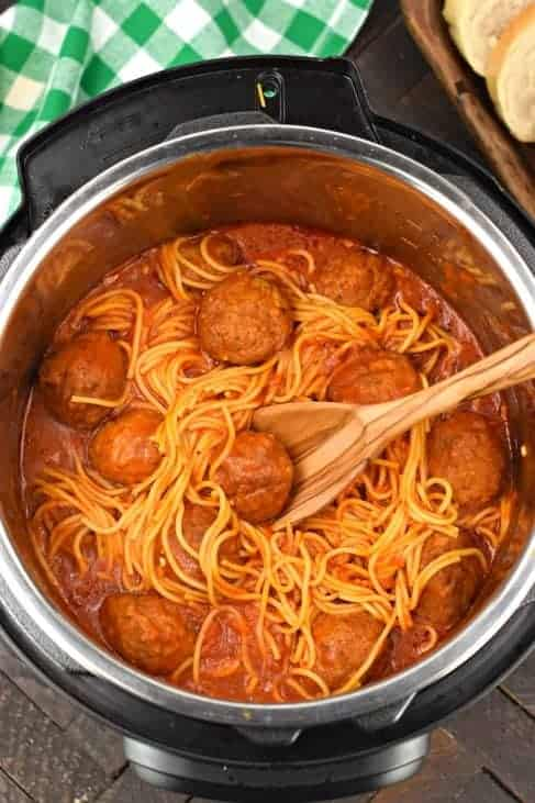 Instant Pot Spaghetti with Meatballs. Served with bread.