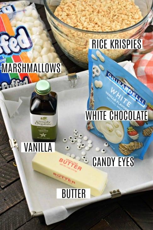 Ingredients needed to make mummy rice krispie treats.