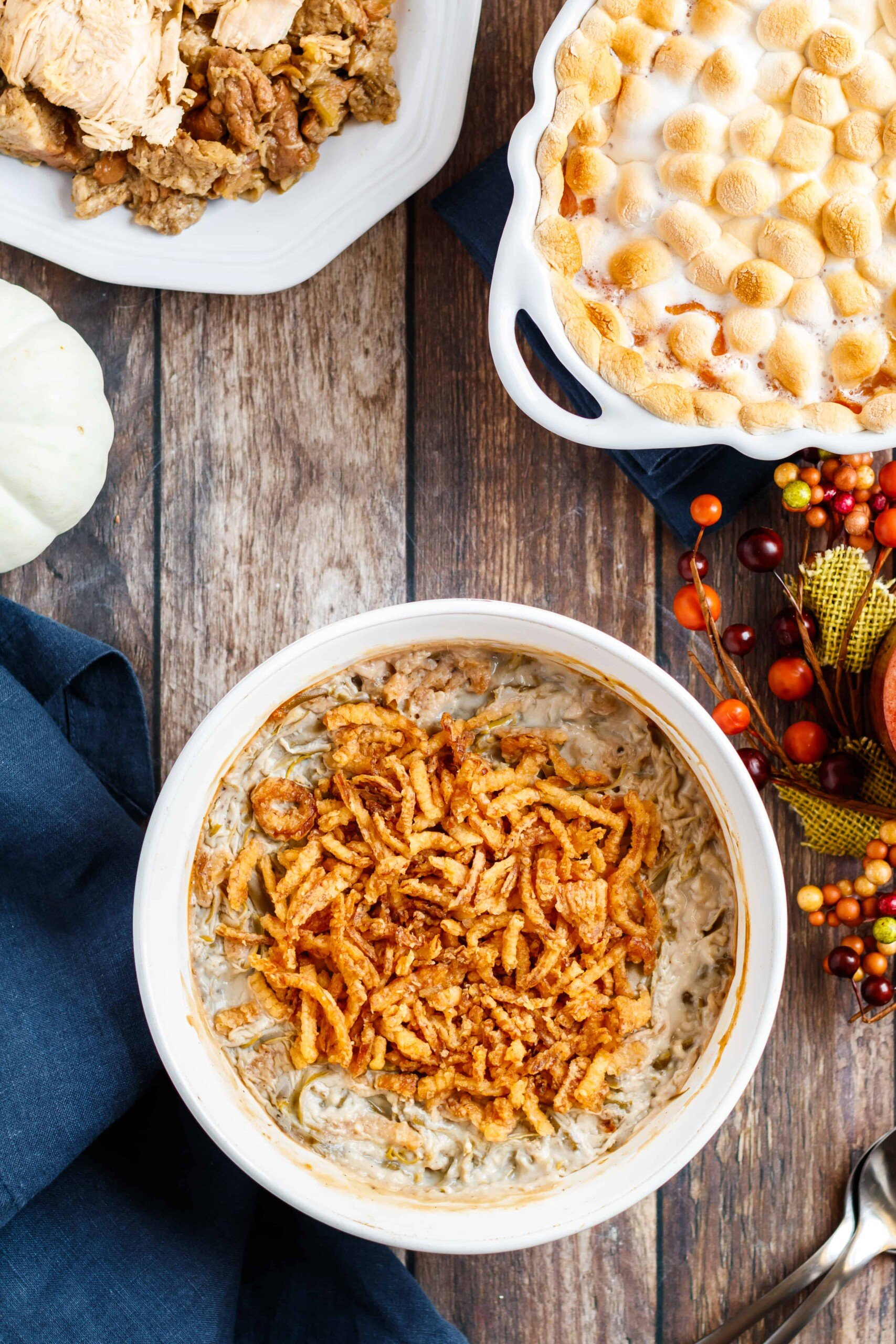 Sreving bowl with green bean casserole and French's crispy fried onions.