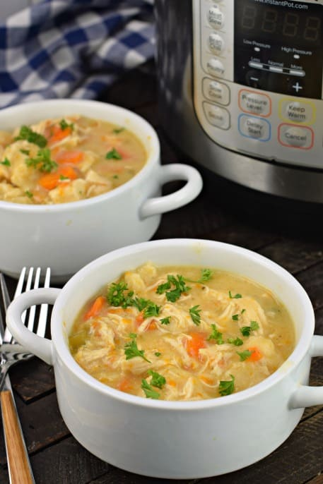 Chicken and dumplings served in two white soup bowls.