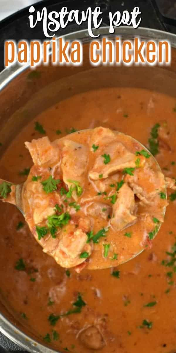 Creamy, flavorful Instant Pot Chicken Paprikash is a delicious comfort food with tangy chicken and sauce. So easy to make, and the stove top recipe is included too.