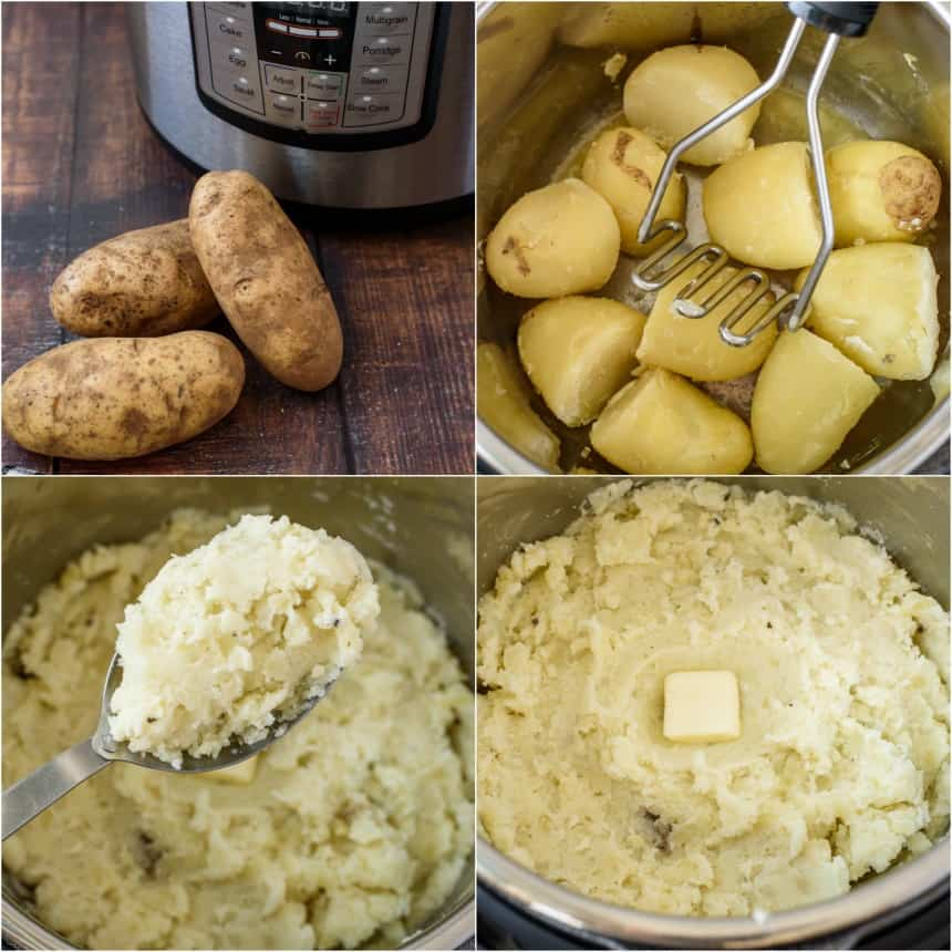 Step by step photos showing how to make russet mashed potatoes in the pressure cooker.