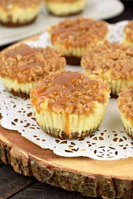 Apple Cheesecake with brown sugar streusel and caramel sauce on top.