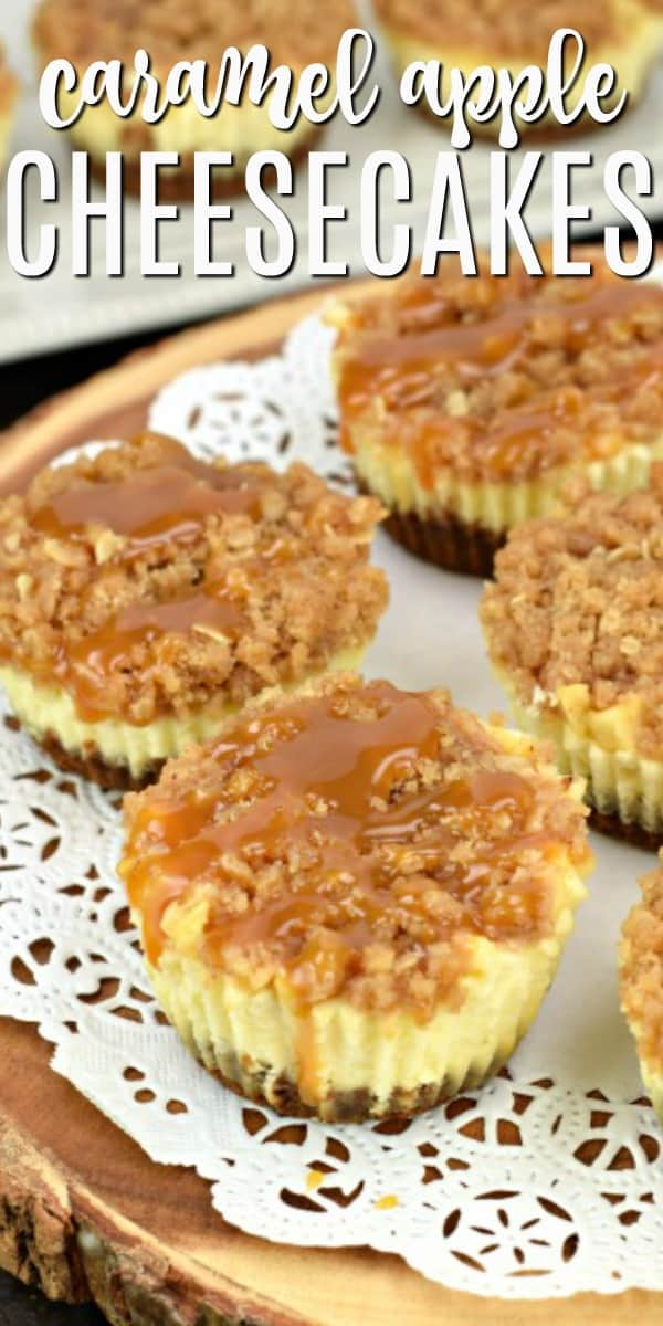 Mini Caramel Apple Cheesecakes are delicious, individual cheesecakes with a brown sugar streusel and caramel glaze. Easy to make too!