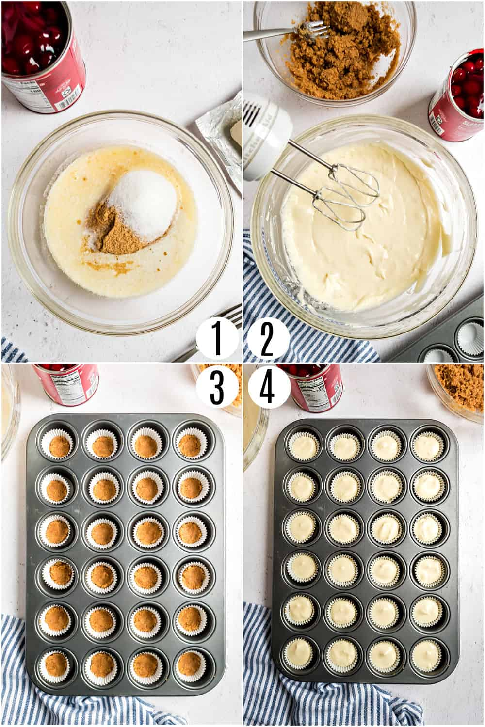 Step by step photos showing how to make mini cherry cheescakes.
