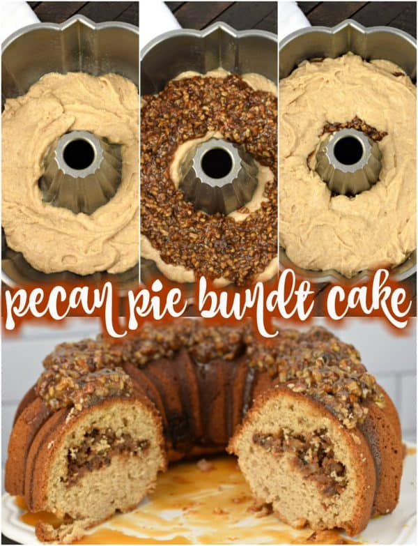 Delicious, moist cinnamon bundt cake with pecan pie filling and topped with a nutty pecan pie topping! This Pecan Pie Bundt Cake recipe is a holiday show stopper, and the perfect Thanksgiving dessert.
