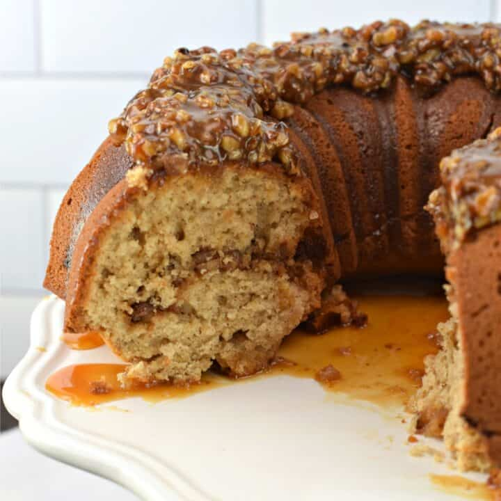 Bundt cake with pecan pie filling and topping.