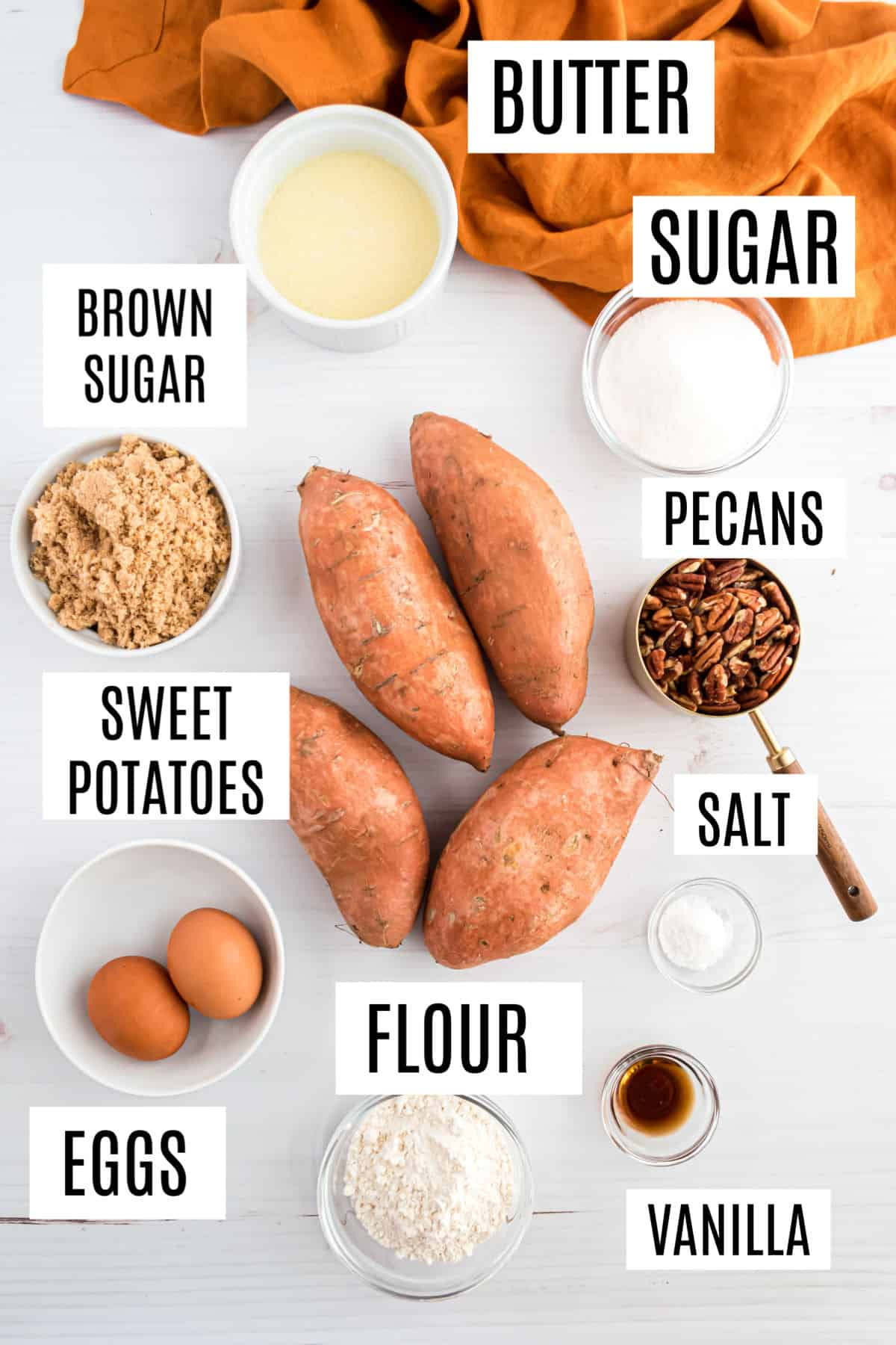 Ingredients needed for sweet potato casserole with pecan topping.