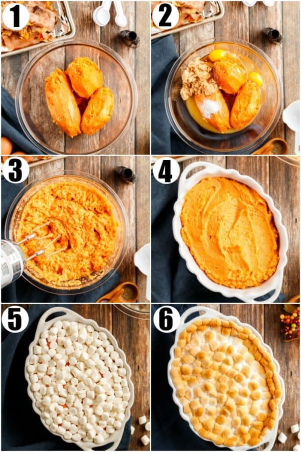 Step by Step photo instructions to make sweet potato casserole with marshmallows