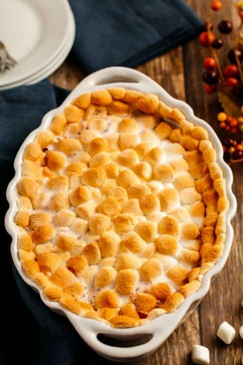 Sweet Potato Casserole dish with toasted marshmallow on top