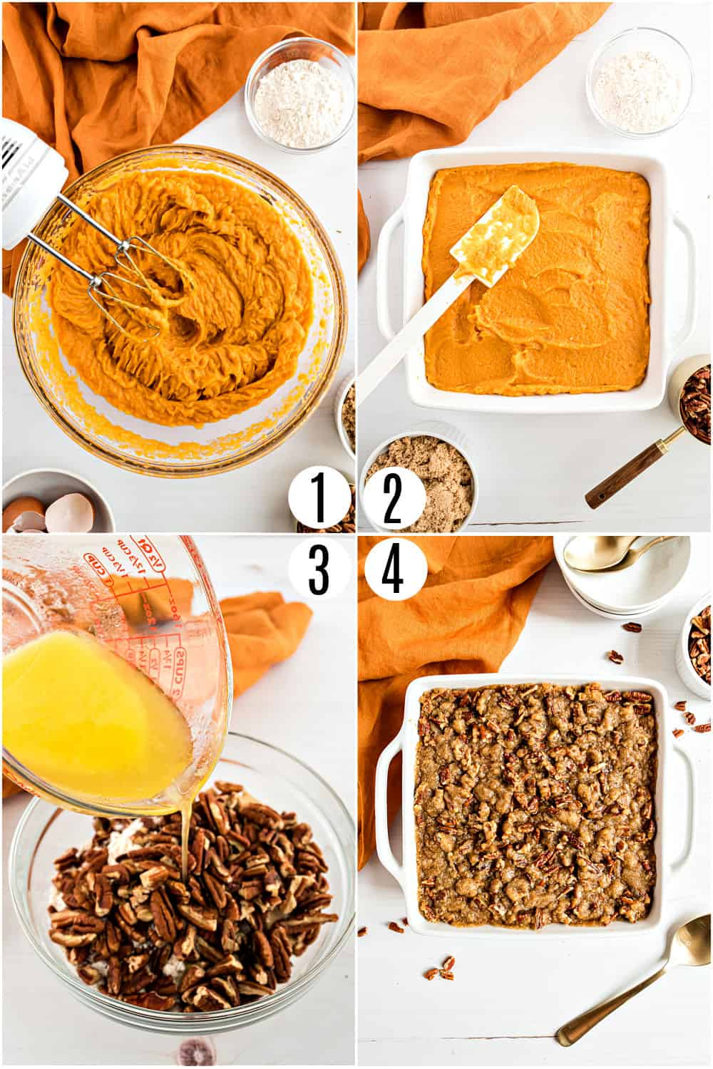 Step by step photos showing how to make sweet potato casserole.