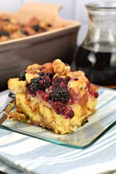 This EASY  Berry Walnut French Toast Casserole recipe is made with Brioche Bread and topped with a sugared walnut and berry mixture for extra flavor! Bake it immediately, or make it ahead and refrigerate overnight. Treat your family to a delicious weekend breakfast!