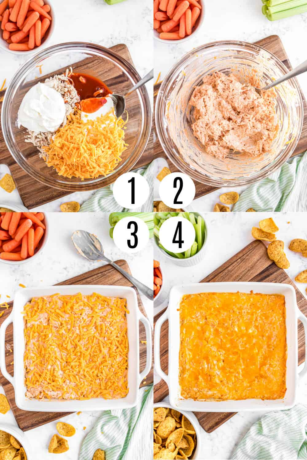Step by step photos showing how to make buffalo chicken dip.