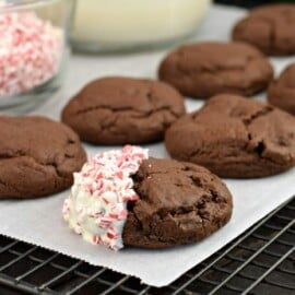 Guaranteed to bring holiday cheer to your taste buds, Chocolate Cookies with peppermint topping are a festive addition to your Christmas Cookie trays!
