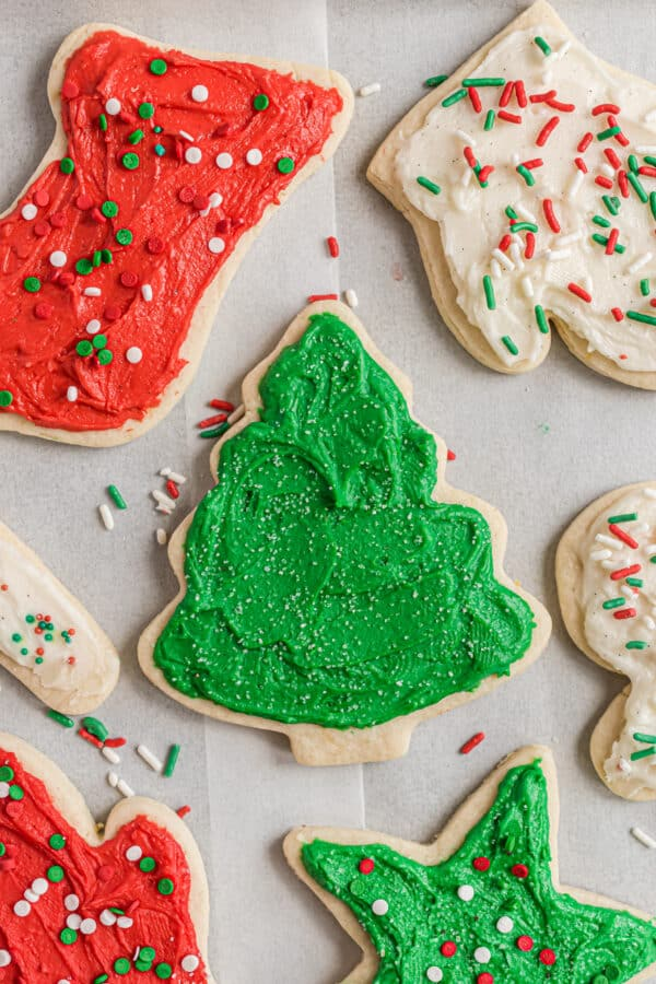 Frosted Christmas cookies.