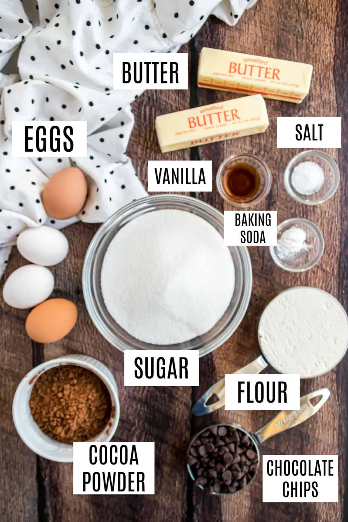 Ingredients needed for homemade brownies.