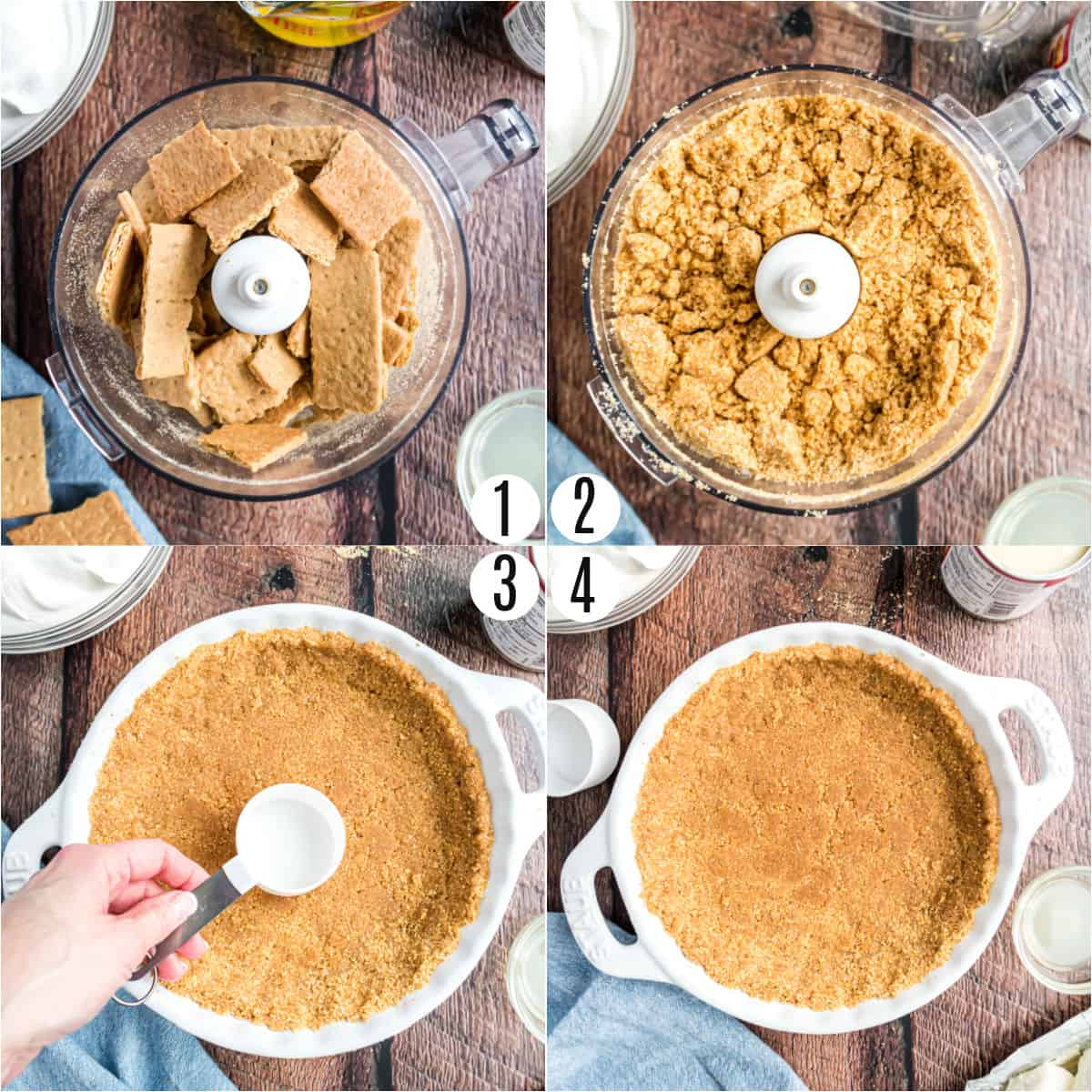 Step by step photos showing how to make a graham cracker crust.