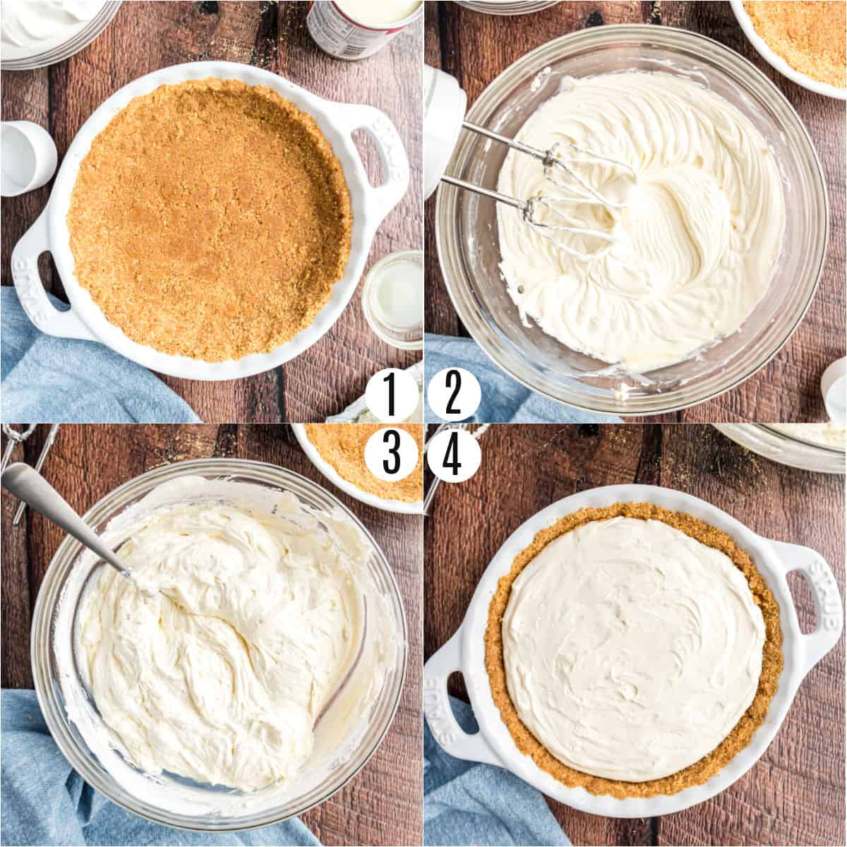 Step by step photos showing how to make cheesecake filling.
