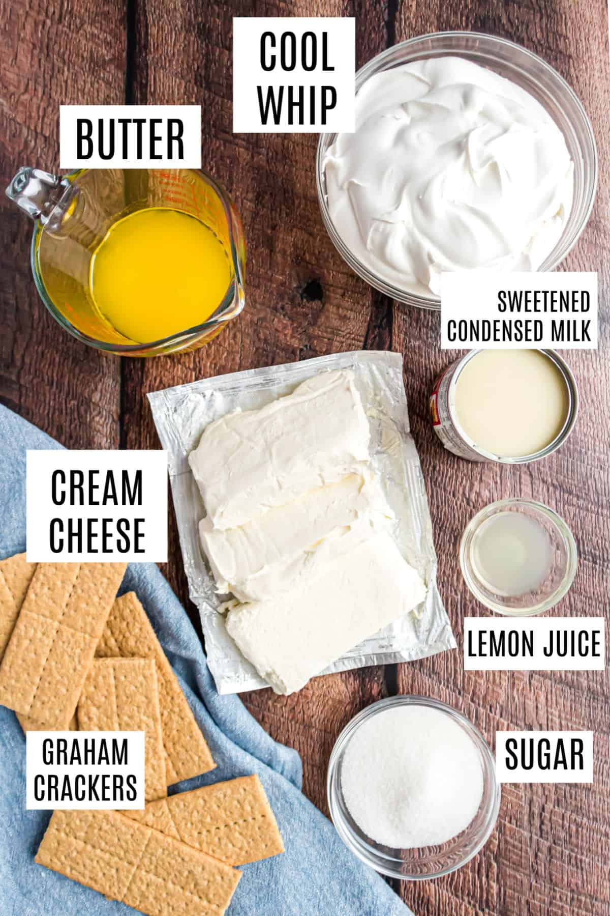 Ingredients needed for no bake cheesecake.