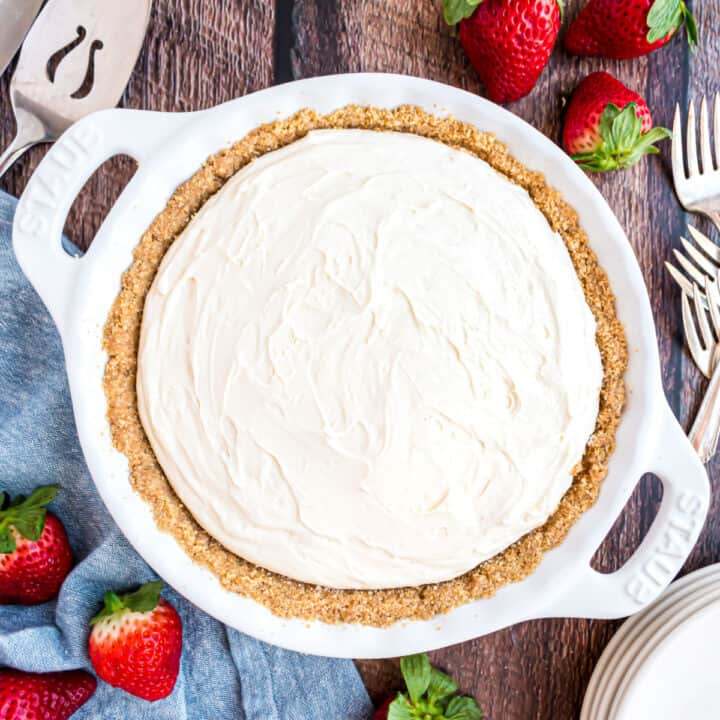 Easy to make with simple ingredients, this No Bake Cheesecake is perfect any time of year. Top with cherry pie filling or fresh berries for more delicious sweetness or enjoy it on its own.