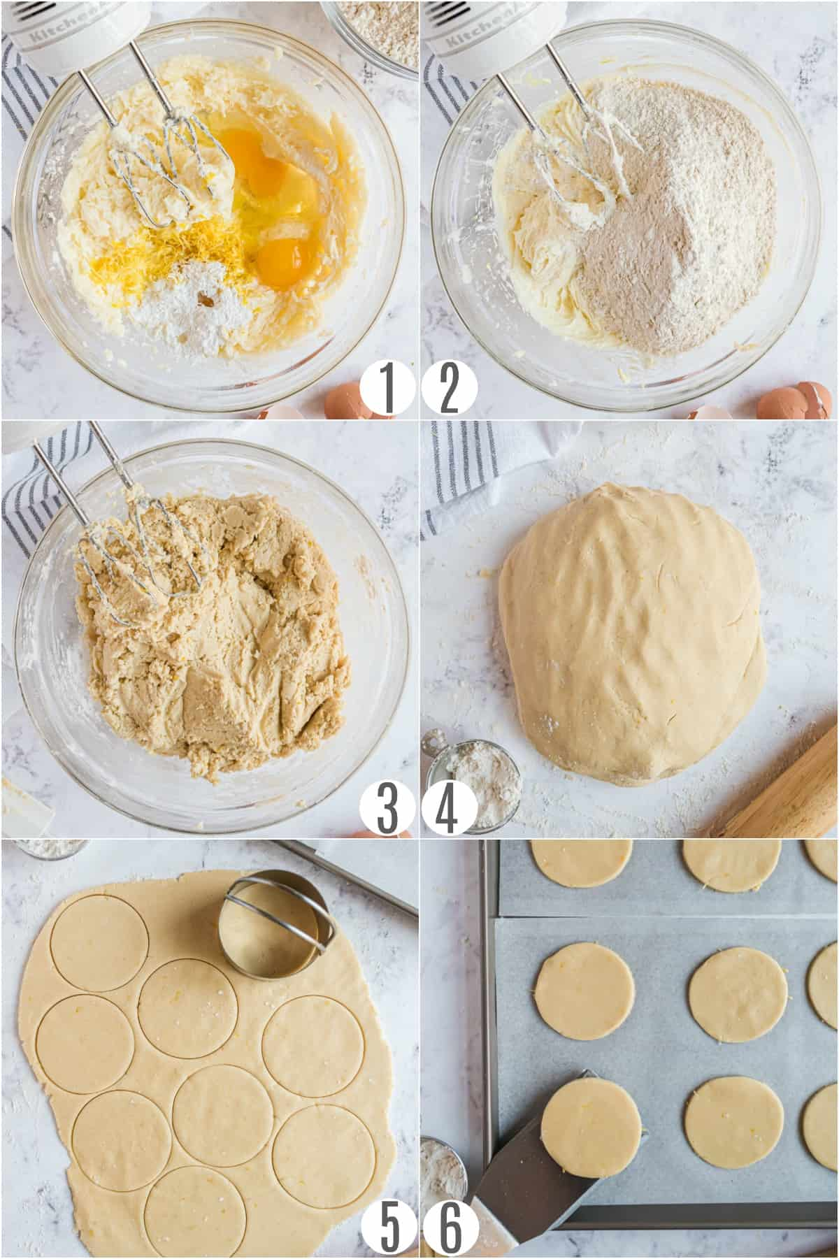 Step by step photos showing how to make cut out sugar cookies.