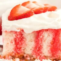 Jello Poke Cake - Pick your favorite flavor! (We used Strawberry!)