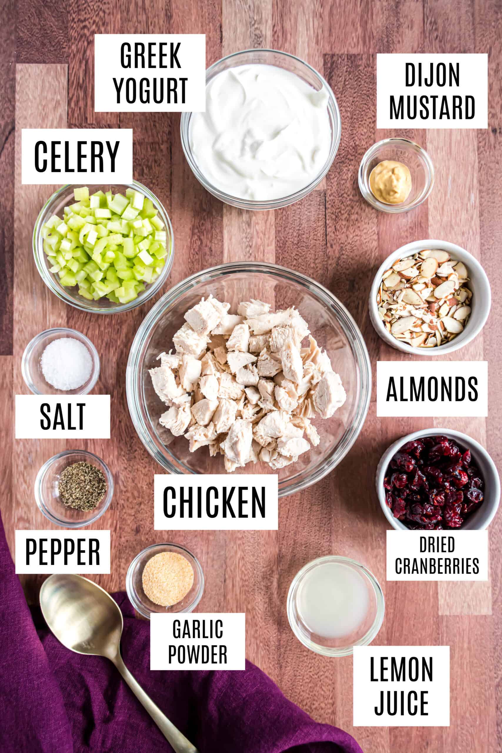Ingredients needed to make healthy chicken salad.