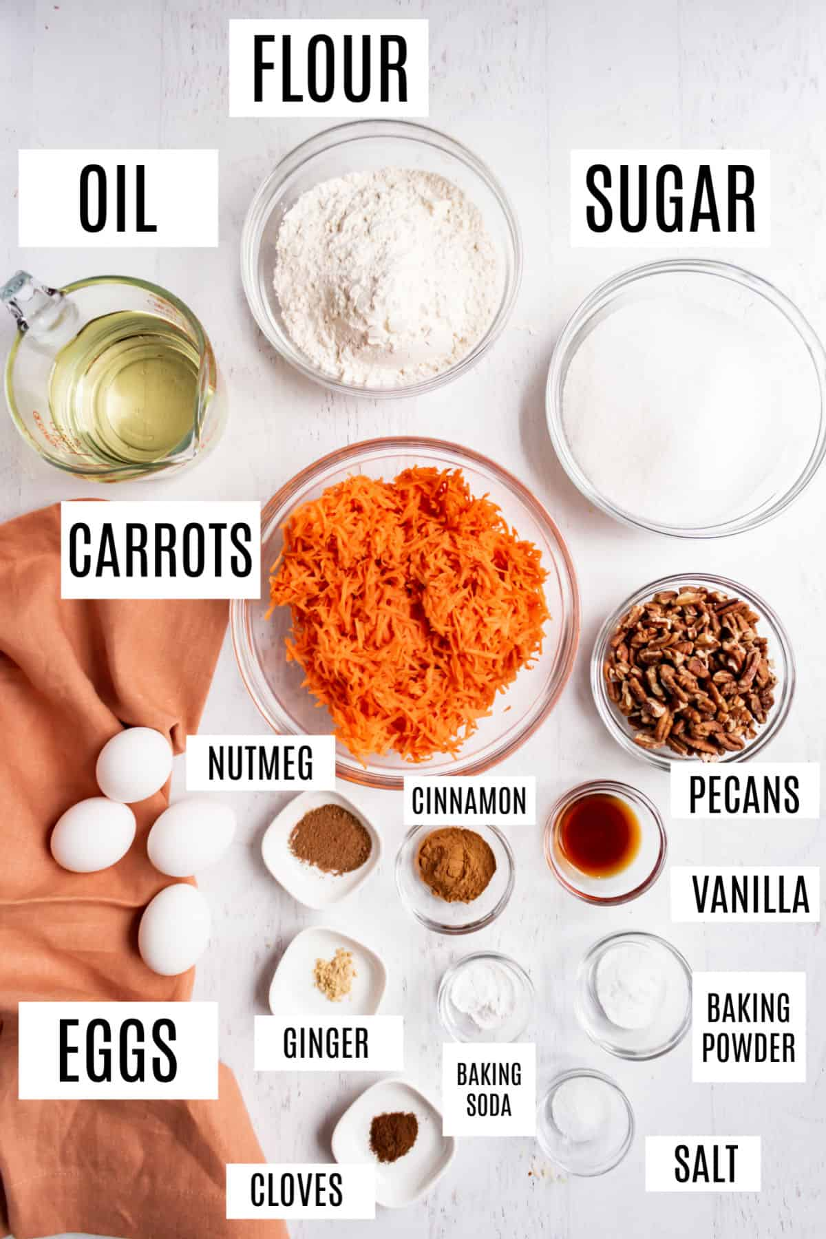 Ingredients needed to make a carrot cake.
