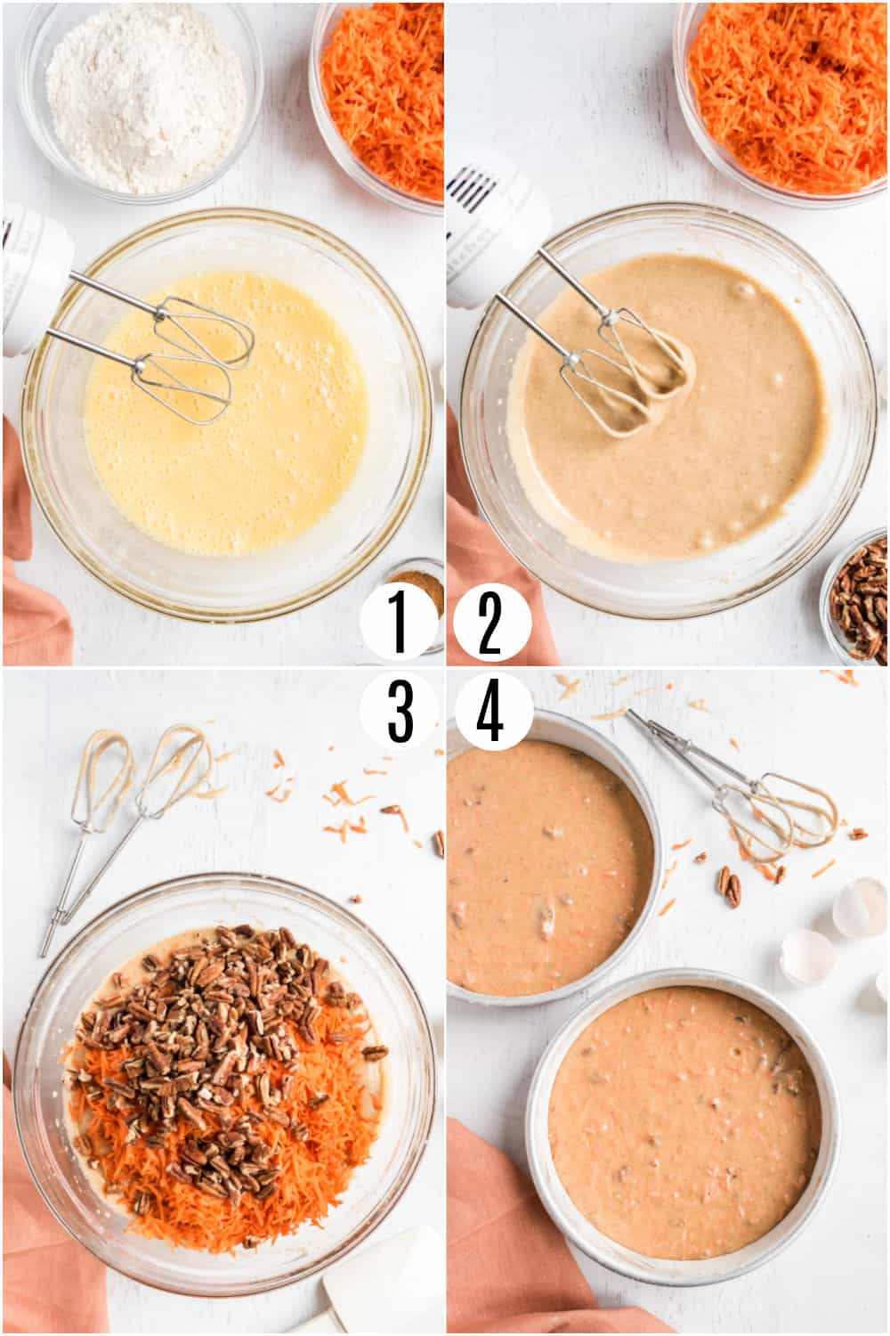 Step by step photos showing how to make carrot cake.