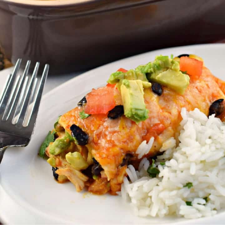 Chicken enchilada with avocado served on plate with cilantro lime rice.