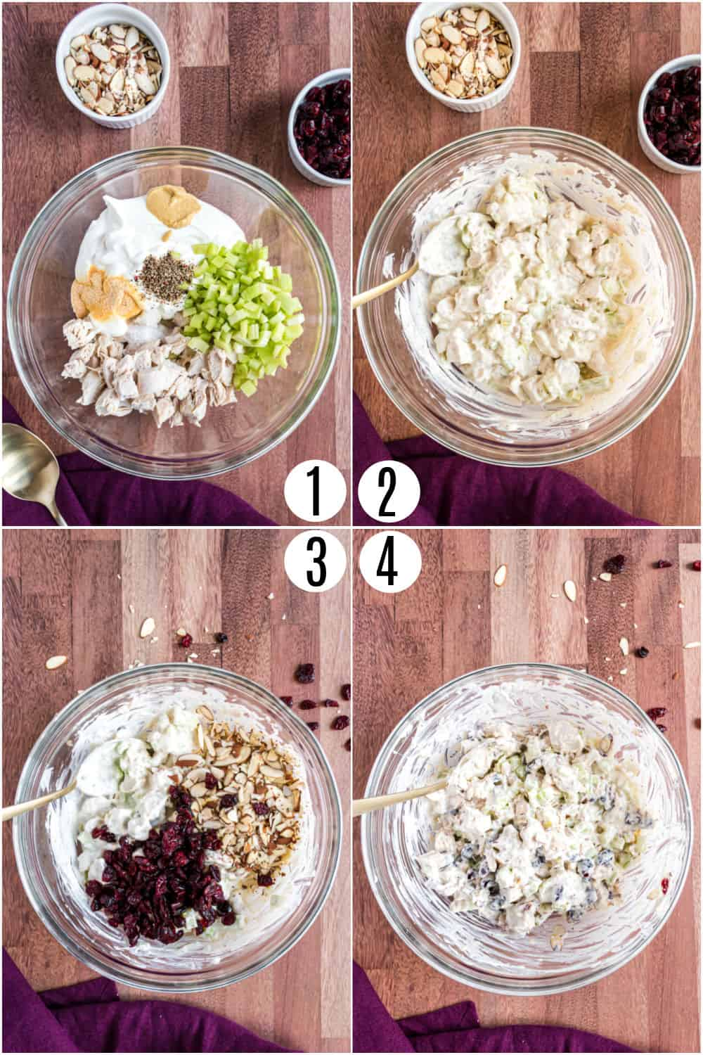 Step by step photos showing how to make chicken salad.