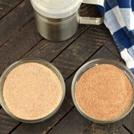 Cinnamon sugar mixes in two different strengths in two different bowls for comparison.