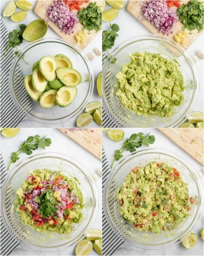 Step by step photos showing how to make guacamole.
