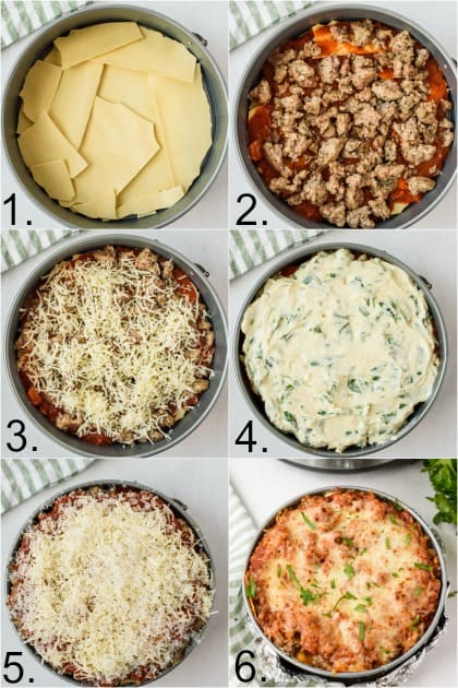 Step by Step photos for making Instant Pot Lasagna