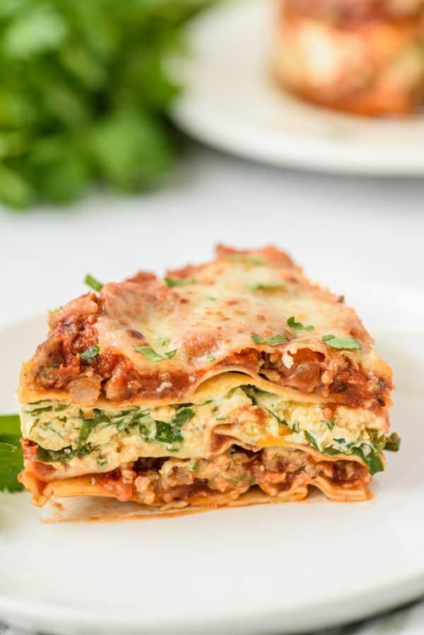 Slice of Instant Pot Lasagna