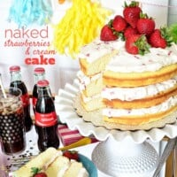 Strawberries and Cream Naked Cake + Birthday Party Cart