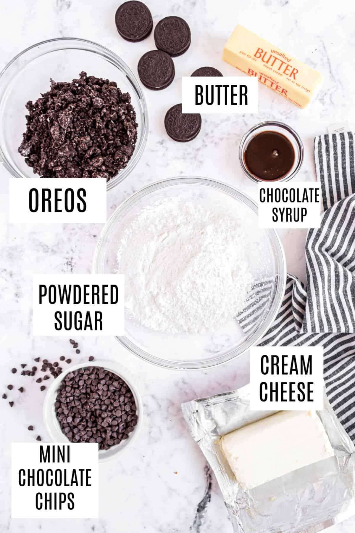 Ingredients needed for cookies and cream cheese ball recipe.
