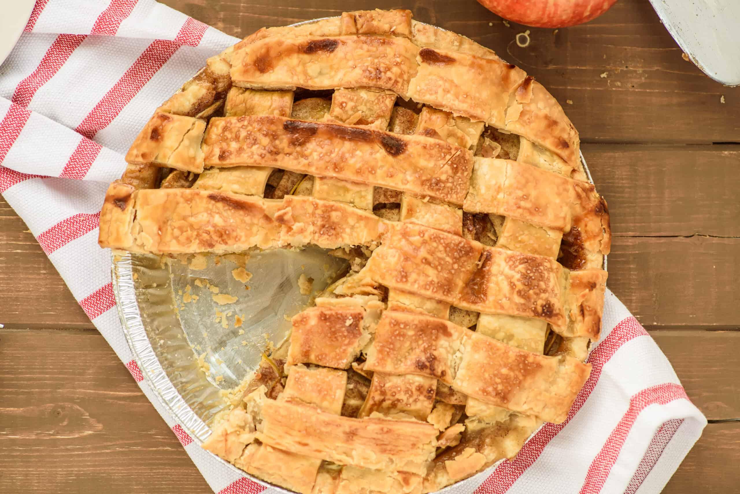 Apple Pie with lattice top. One slice removed.