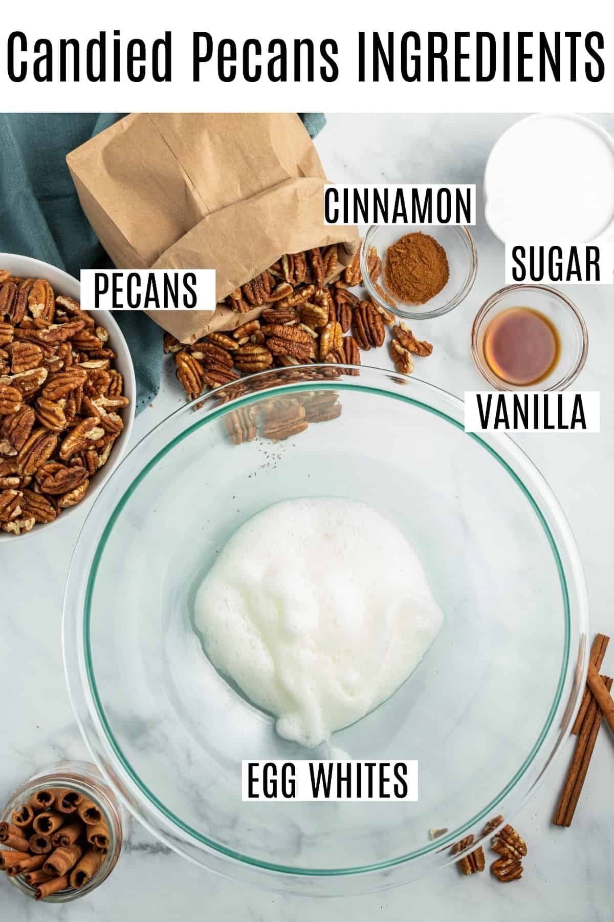 Ingredients needed for candied pecans, including egg whites, sugar, and cinnamon!