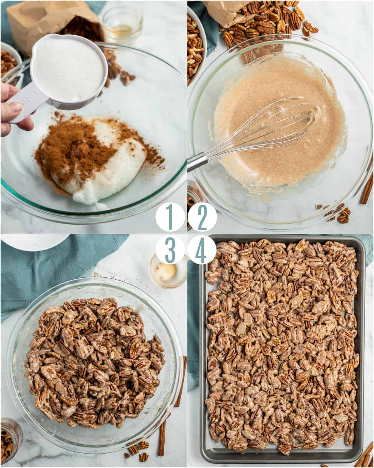 Step by step photos showing how to make candied cinnamon pecans.