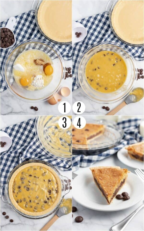 Step by step directions for making Chocolate Chip Cookie Pie recipe.