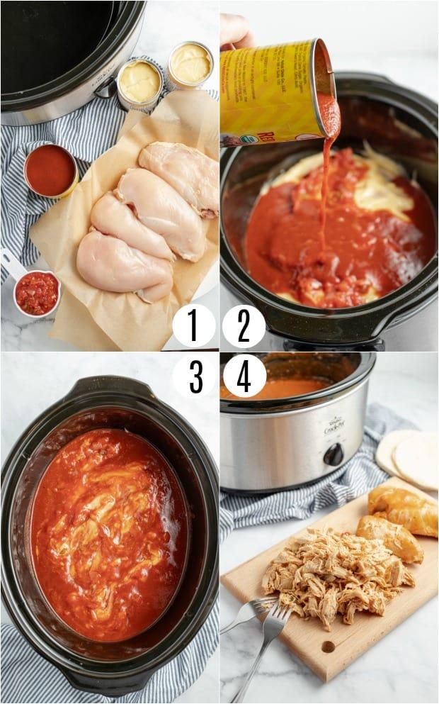 Step by step photos for crockpot enchiladas.